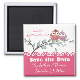 PinkSave The Date Lovebirds Wedding Engagement Square Magnet