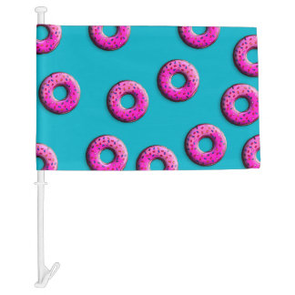 Pinky Donut with colorful sprinkles + your ideas Car Flag