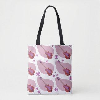 Pinky Guitars Pattern Tote Bag