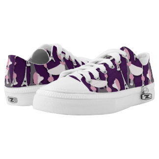 Pinky Paris Poodle on Purple Low Tops