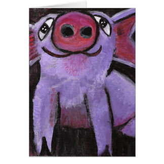 Pinky Pig Greeting Card (Customizable)