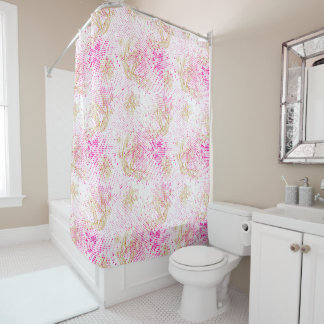 Pinky retro halftones with buterflies shower curtain