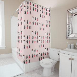 Pinky Retro Pop Art - Minimal Cacti Shower Curtain