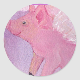 Pinky the Flying Pig - When Pigs Fly Round Sticker