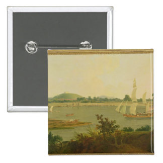 Pinnace Sailing Down the Ganges past Monghyr Fort, 15 Cm Square Badge