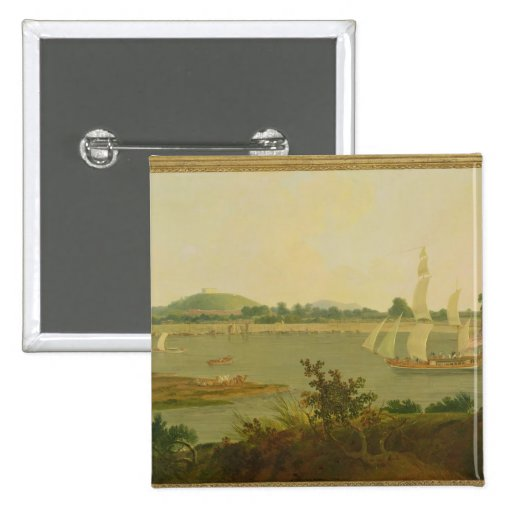 Pinnace Sailing Down the Ganges past Monghyr Fort, Pinback Buttons