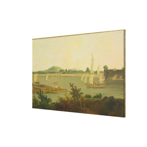 Pinnace Sailing Down the Ganges past Monghyr Fort, Canvas Print