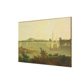Pinnace Sailing Down the Ganges past Monghyr Fort Canvas Print