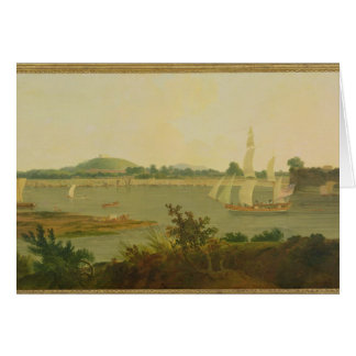 Pinnace Sailing Down the Ganges past Monghyr Fort, Greeting Card