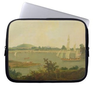 Pinnace Sailing Down the Ganges past Monghyr Fort, Laptop Computer Sleeve