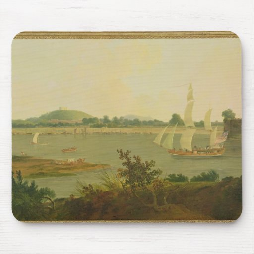 Pinnace Sailing Down the Ganges past Monghyr Fort, Mousepad