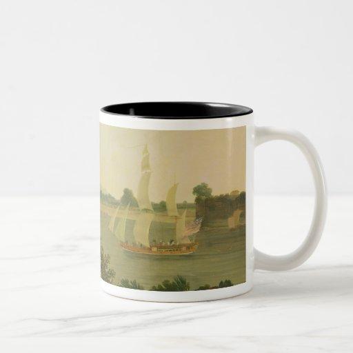 Pinnace Sailing Down the Ganges past Monghyr Fort, Mug
