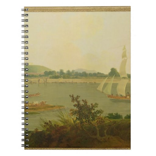 Pinnace Sailing Down the Ganges past Monghyr Fort, Spiral Notebook