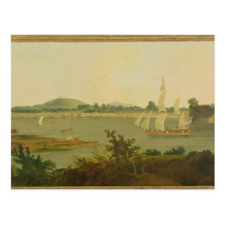 Pinnace Sailing Down the Ganges past Monghyr Fort, Postcard