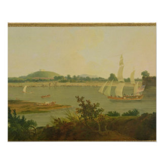 Pinnace Sailing Down the Ganges past Monghyr Fort, Poster