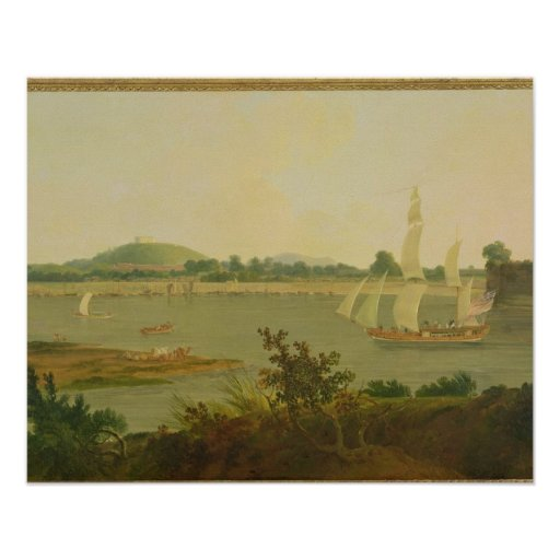 Pinnace Sailing Down the Ganges past Monghyr Fort, Print