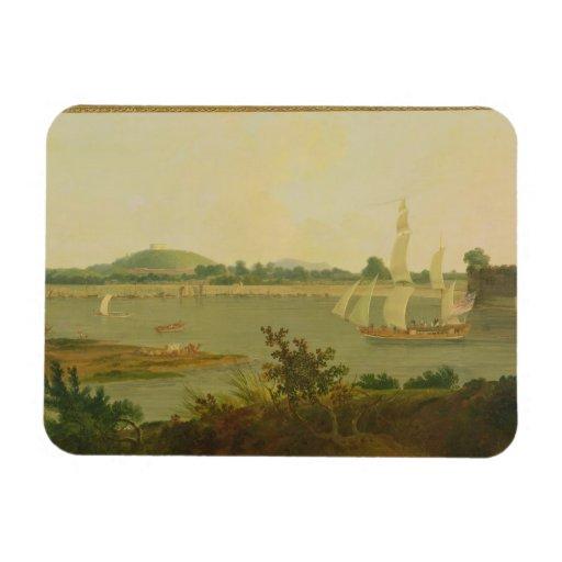 Pinnace Sailing Down the Ganges past Monghyr Fort, Rectangular Magnets