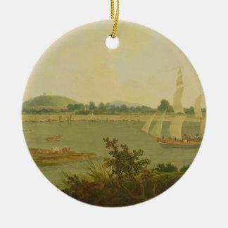 Pinnace Sailing Down the Ganges past Monghyr Fort, Round Ceramic Decoration