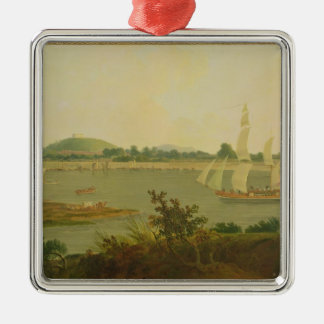Pinnace Sailing Down the Ganges past Monghyr Fort, Silver-Colored Square Decoration