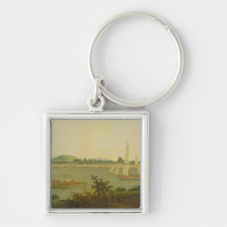 Pinnace Sailing Down the Ganges past Monghyr Fort, Silver-Colored Square Key Ring