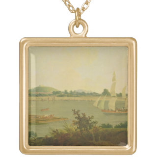 Pinnace Sailing Down the Ganges past Monghyr Fort, Square Pendant Necklace