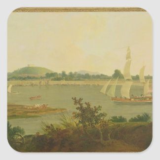 Pinnace Sailing Down the Ganges past Monghyr Fort, Square Sticker