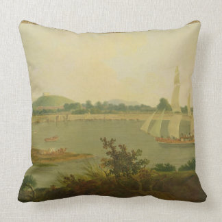 Pinnace Sailing Down the Ganges past Monghyr Fort, Throw Pillow