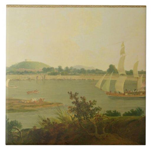 Pinnace Sailing Down the Ganges past Monghyr Fort, Ceramic Tiles