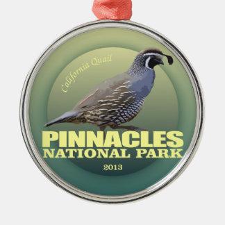 Pinnacles NP (California Quail) WT Silver-Colored Round Decoration