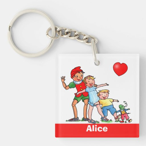Pinocchio and Friends Love Heart - Keychain Acrylic Key Chains