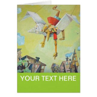Pinocchio on pigeon. greeting card