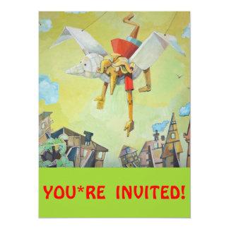 Pinocchio on pigeon. 14 cm x 19 cm invitation card