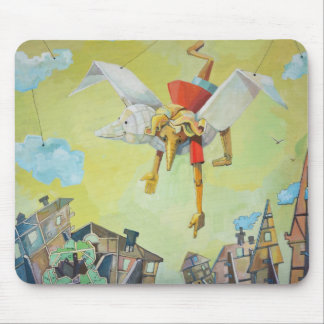 Pinocchio on pigeon. mouse pad