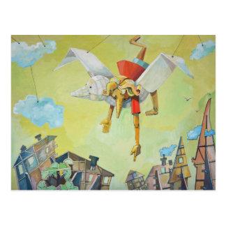 Pinocchio on pigeon. postcard