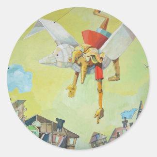 Pinocchio on pigeon. round sticker