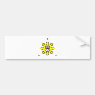 Pinoy Smiling Sun plus Star Bumper Sticker