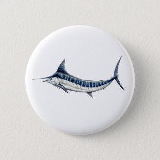 Pins, broaches, plates round blue Marlin 6 Cm Round Badge