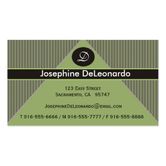 Pinstripe Green Business Cards
