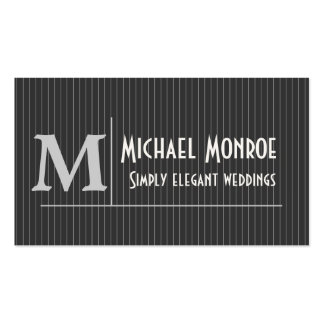Pinstripe Monograms Business Card Template
