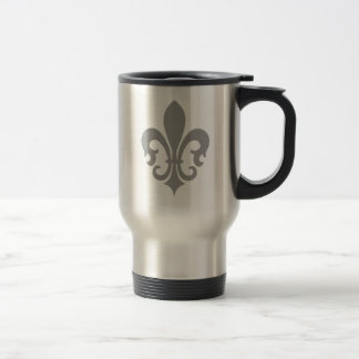 Pinstripe Pattern with Fleur de Lis Coffee Mugs