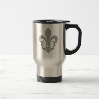Pinstripe Pattern with Fleur de Lis Stainless Steel Travel Mug