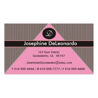 Pinstripe Pink Business Cards