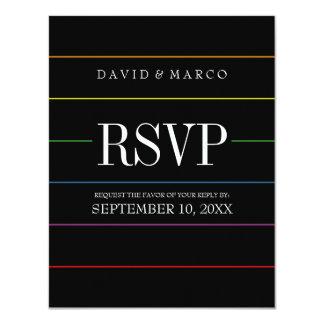 Pinstripe Pride Colors RSVP Gay Wedding Card