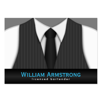 Pinstripe Suit Tie Large Bartender Business Cards