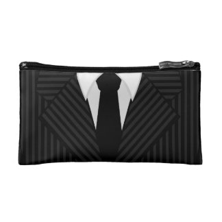 Pinstripe Suit Tie Mens Small Wash or Toiletry Bag Cosmetic Bags