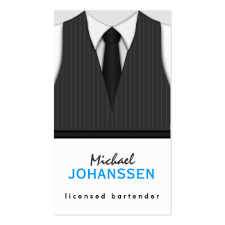 Pinstripe Suit Vest Tie Bartender Business Cards Business Card Template