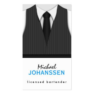 Pinstripe Suit Vest Tie Bartender Business Cards Business Card Template