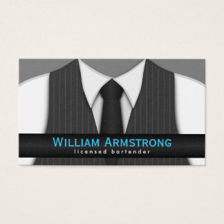 Pinstripe Suit Vest Tie Bartender Business Cards