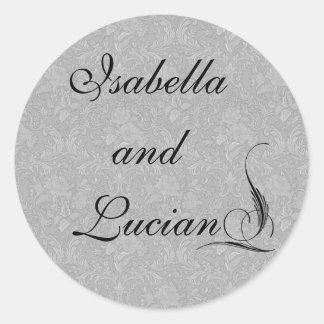 Pinstriped Gray Damask Goth Wedding Round Sticker