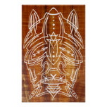 Pinstriped Shrunken Head Tiki Poster